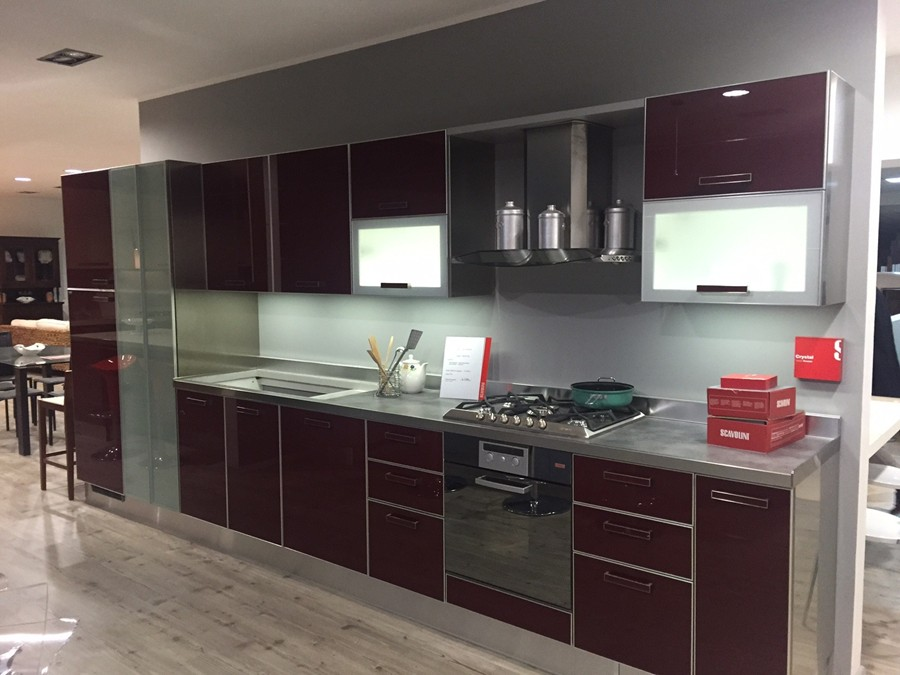 Cucina Crystal in Vetro lucido Rosso | Outlet Ufficiale ...