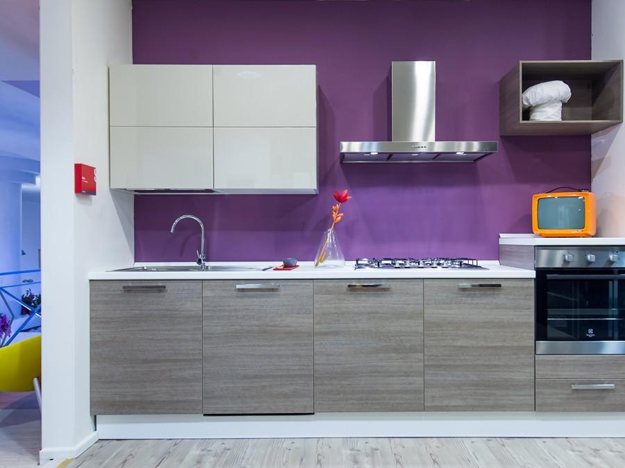 Cucina Sax in Decorativo, Laccato lucido Rovere, Tortora | Outlet ...