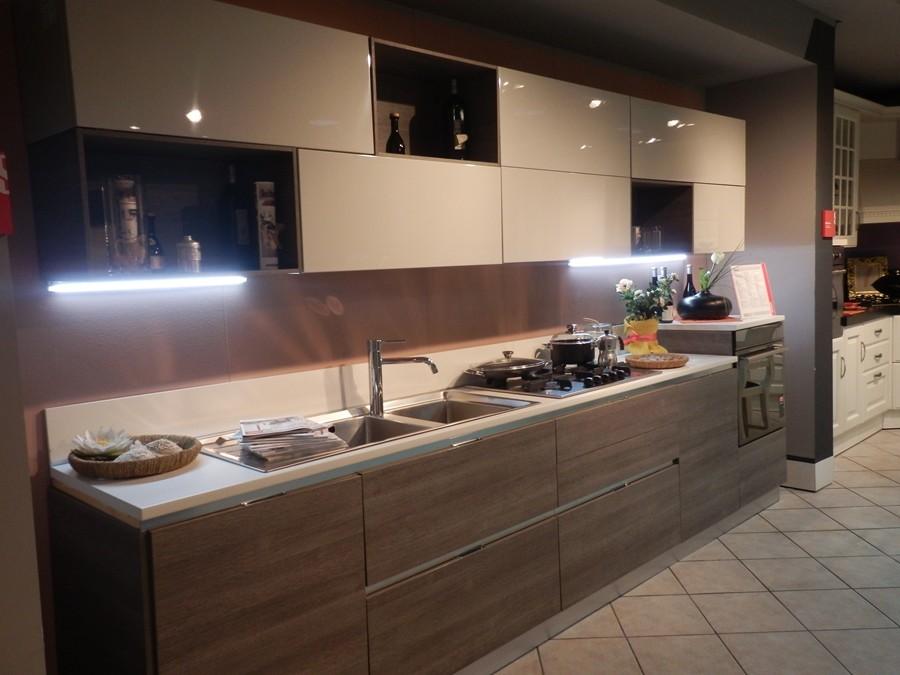 Cucina Mood in Decorativo, Laccato lucido Grigio, Rovere  Outlet Ufficiale S...